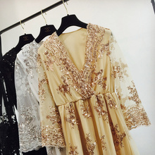 2017 Spring Sexy V neck Sequins Lace Dresses Free Size Bohemian Dress Women