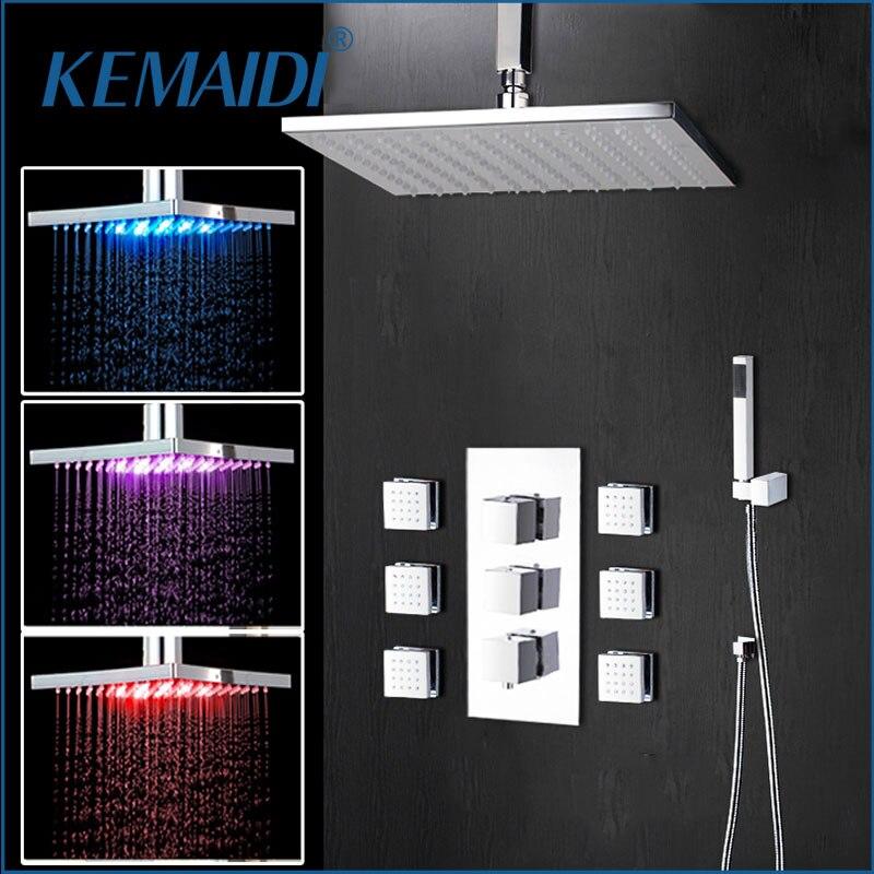 Chuveiro Do Banheiro 20 KEMAIDI Polegada LED Chrome Set Torneira Do Chuveiro Termostática Válvula Torneira Misturadora W/6 Mensagem Jatos Chuveiro conjunto