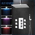 KEMAIDI Ванная комната Душ 20 дюймов светодиодный хромированный смеситель для душа набор термостатный водопроводный смеситель кран W/6 сообщени...