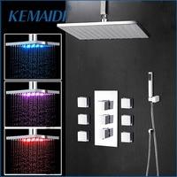 KEMAIDI Bathroom Shower 20 Inch LED Chrome Shower Faucet Set Thermostatic Valve Mixer Tap W/ 6 Message Jets Shower Set