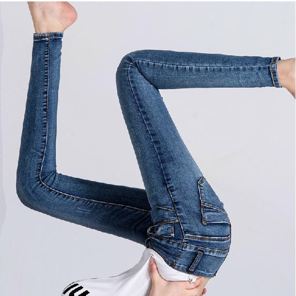 ФОТО 2016 elastic, tight, little feet pants, pencil pants, Mid waist jeans, ladies jeans