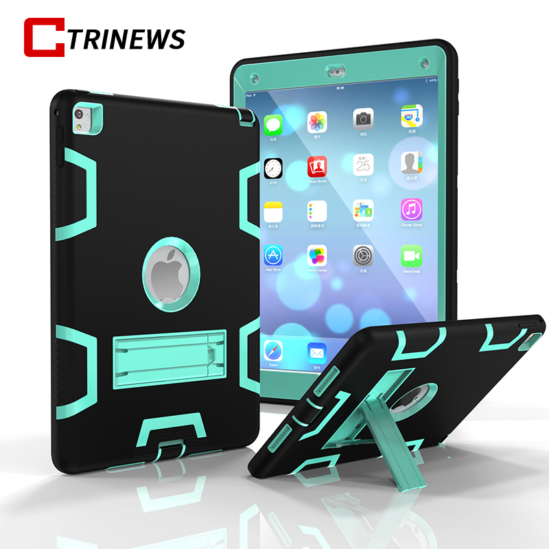 CTRINEWS Shockproof Case For New iPad 9.7 2018 2017 Silicone TPU Kickstand Hybrid Armor Cover For ipad A1822 A1823 Tablets Case