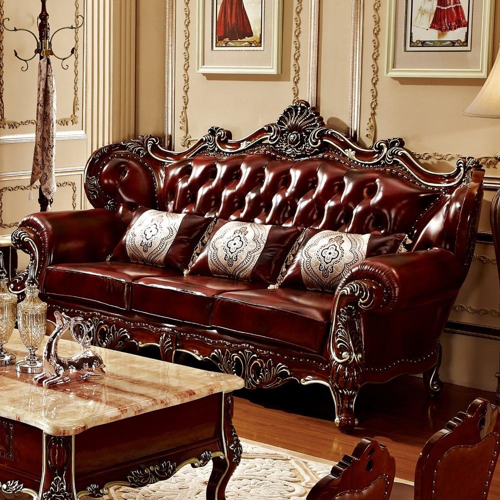 Luxus qualität Leder Sofa set Wohnzimmer massivholz durch ProCARE ...