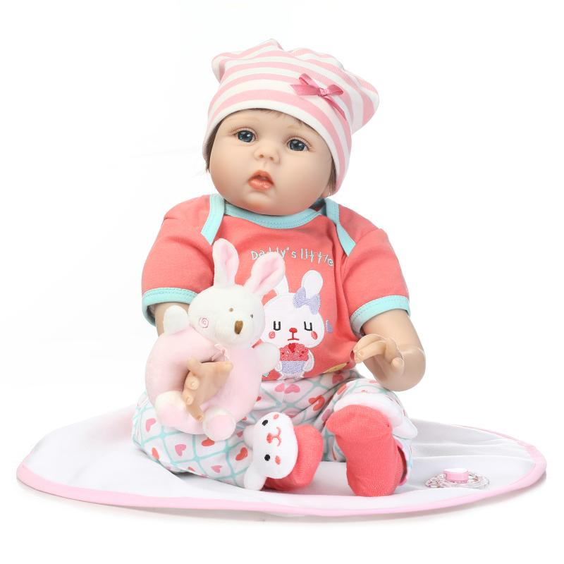 2017 New 22 Inch Lifelike Girl Reborn Doll Cotton Silicone Soft Touch Newborn Babies Toy Cute Pink Clothes Kids Birthday Gift new arrival 55cm blue eyes pink clothes lifelike baby soft girl doll with free plush toy as kids xmas gifts birthday doll toys