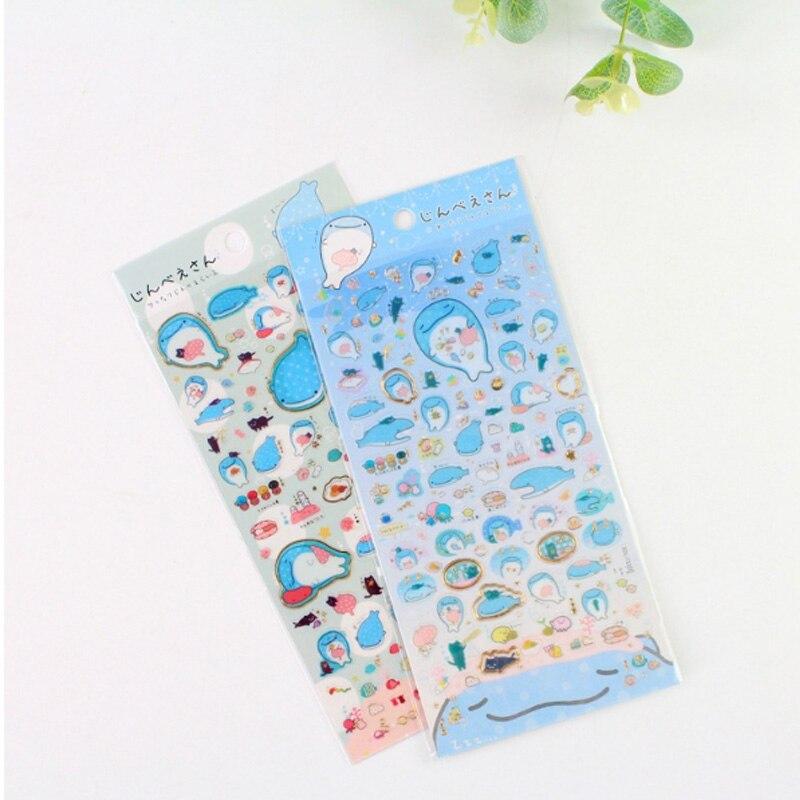 Купить с кэшбэком 1X Cute Creative Blue whale sticker child diy toy Photo album Deco sticker scrapbooking seal sticker kawaii stationery
