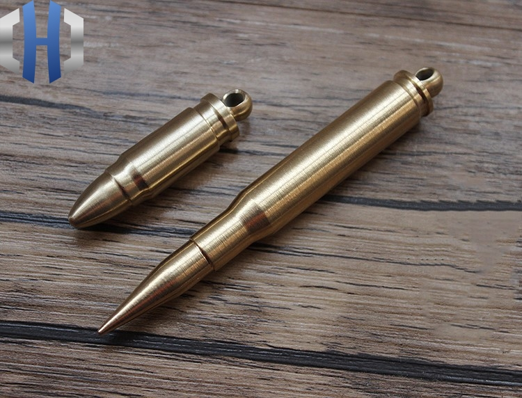 Brass Manual Lathe System Extended Edition Bullet EDC Keychain Pendant Ornament