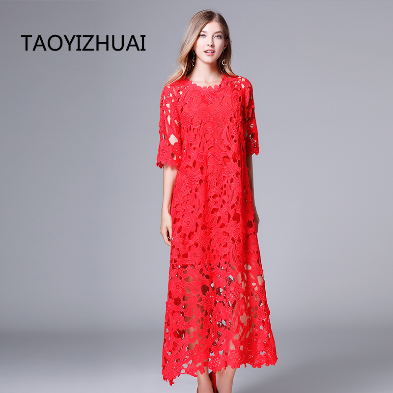 TAOYIZHUAI 2019 New Arrival Spring Chinese Style Ankle Length 100 polyester Plus Size O Neck Hollow