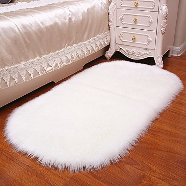 Faux Fur Chair Cover Stacking Plastic Chairs Oval Sheepskin Rug Carpet Kids Plat Mat Soft Home Decor Accent For Kid S Room Children
