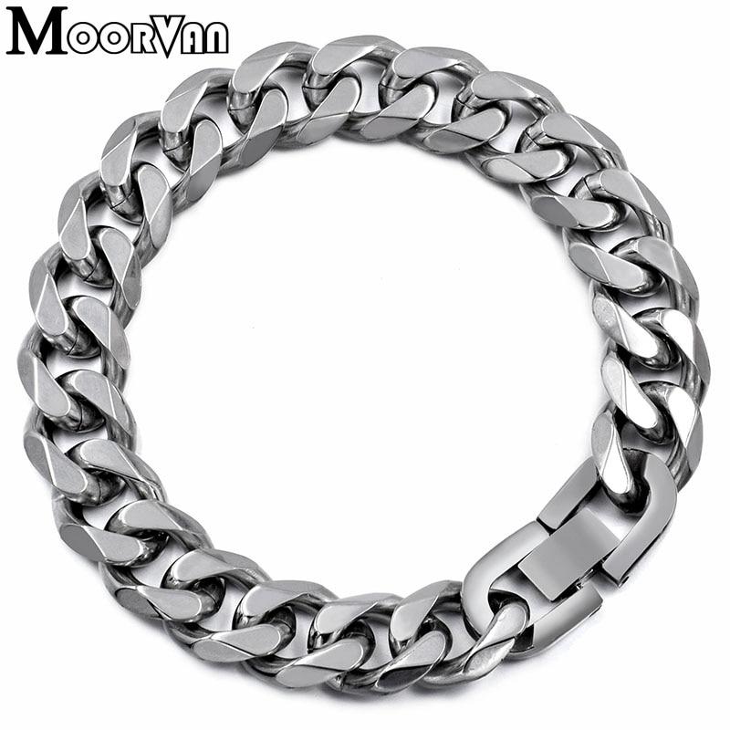 Moorvan Jewelry Men Bracelet Cuban links & chains Stainless Steel Bracelet for Bangle Male Accessory Wholesale B284 18