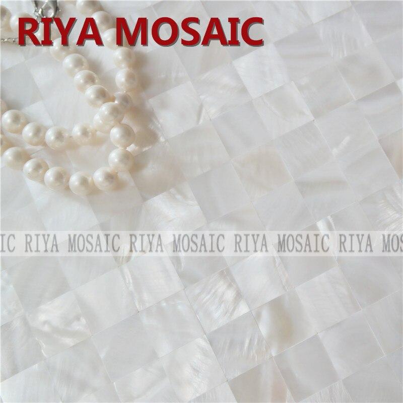 Free Shipping RIYA Natural Shell Mother Of Pearl Mosaic Tiles Pure White 20mm No Gap Background Wall Smallpox Bar 88pcs/lot