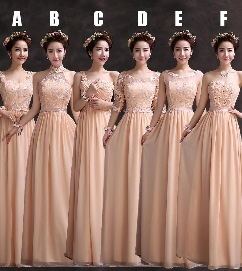 Popular Cheap Peach Lace Chiffon Bridesmaids Dresses-Buy Cheap ...