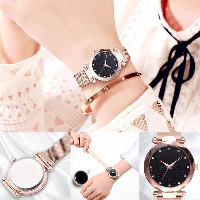 Luxury Women Watches Ladies Magnetic Starry Sky Clock Fashion Diamond Female Quartz Wristwatches relogio feminino zegarek damski 4