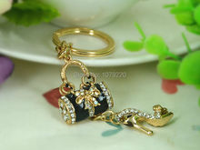 T Black Bags High-heeled Shoes Keyring Rhinestone Crystal Charm Jewellery Women Bag Pendant Car Key Chain Gift