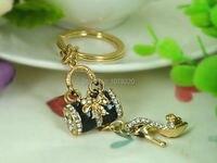 T Black Bags High Heeled Shoes Keyring 18K Gold Plated Rhinestone Crystal Charm Jewellery Women Bag