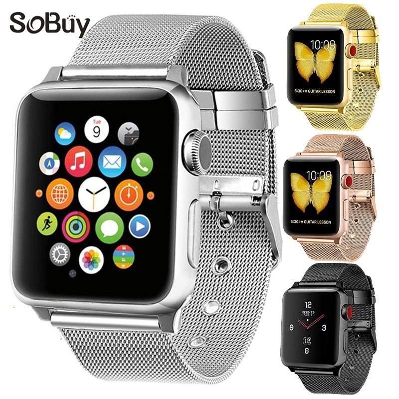 So buy for apple watch series 1 2 3 42mm metal Milanese Bracelet 38mm iwatch wrist strap Milan band Stainless Steel watchbands