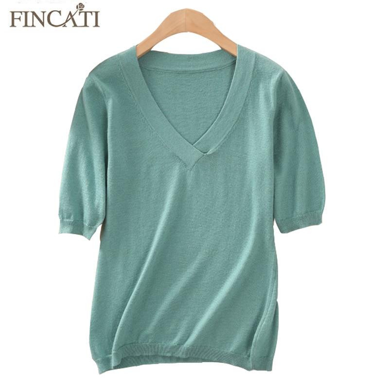Women Shirt Knitted 2018 Summer Autumn Cashmere Blending Korea V Neck Short Sleeve Elegent Casual Top Shirts Knitwear S-XXL