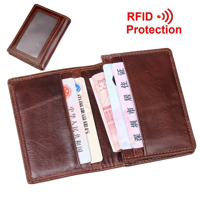 Cowhide! Unisex Card & ID Holders Mini Wallets Men/Women Genuine Leather Credit Card Holder RFID Protection