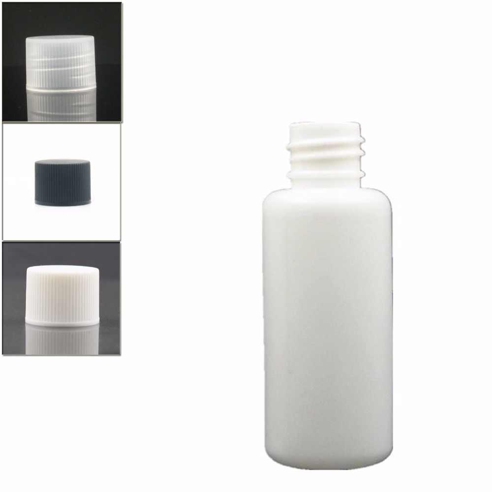 30 ml puste białe butelki z tworzyw sztucznych, butelka z polietylenu z biały/czarny/przezroczysty prążkowane zakręcane zamknięcie x 10