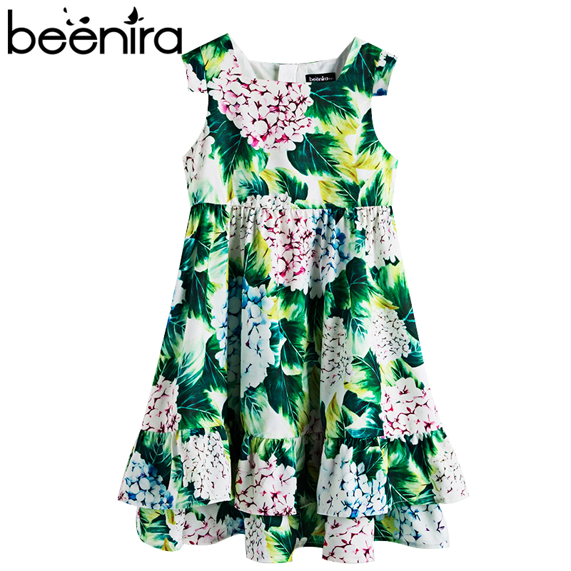 Beenira Girls Summer Dress 2017 New European And American Style Children Flower Pattern Sleeveless Dresses4-14Y Kids Cute Dress beenira girls dress 2017 new european and american style kids printed pattern long sleeve dress for 4 14y children autumn dress