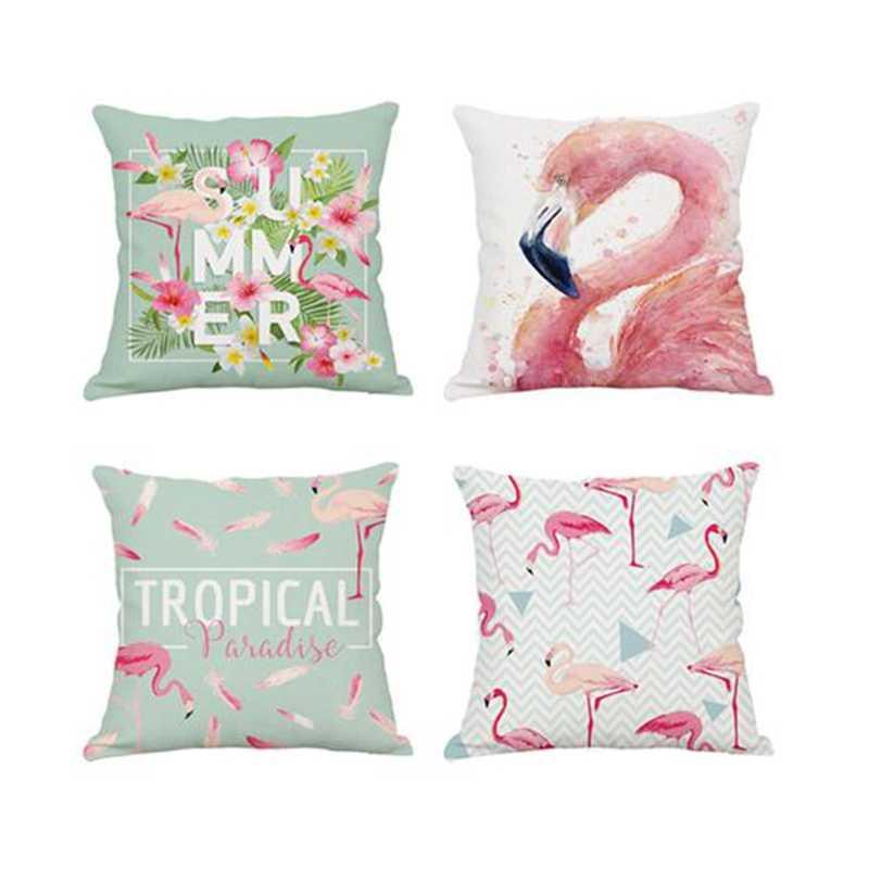Urijk 4 Pcs/set Flamingo Bantal Cover Poliester Satu Sisi Pencetakan Kartun Kapas Rumah Dekoratif Bantal Cover Sarung Bantal
