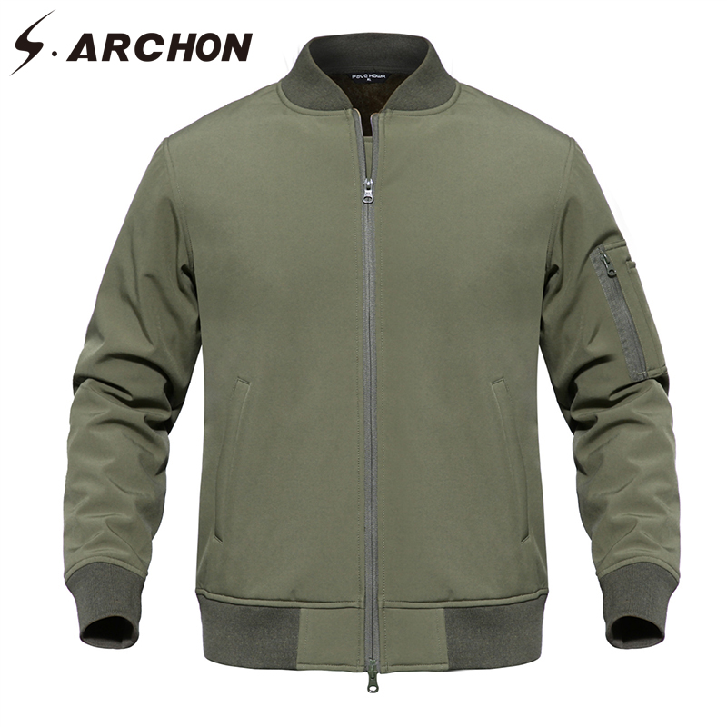 S.ARCHON US MA1 Military Pilot Fleece Jackets Men Waterproof Tactical Camouflage Jackets Coat Windbreaker Clothes Army Outerwear image