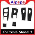 Углеродное волокно стиль окна автомобиля переключатель панель Крышка Стайлинг отделка украшения наклейки аксессуары для Tesla модель 3