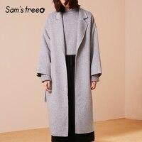 Samstree/51.8% шерстяное пальто зимнее двустороннее женское пальто с поясом на талии широкая талия оверсайз Женская Удлиненная верхняя одежда