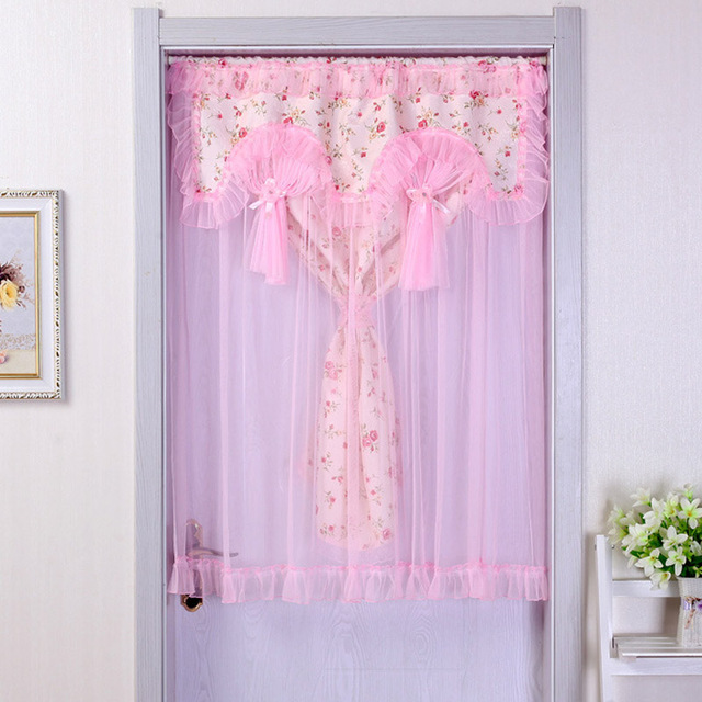 Helen Curtain 90cm*120 Cm Pink Lace Kitchen Curtains Living Room Door Short  Curtains Pastoral
