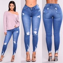 d76c7e3e3b Ripped agujero moda Jeans mujeres alta cintura lápiz flaco Blue Denim  Pantalones mujer lavado varado stretch elásticos mujeres