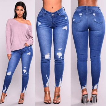 ripped hole fashion Jeans Women High Waist Skinny Pencil Blue Denim Pants women washed beached stretch elastic Jeans women