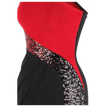 Angel-fashions Women\'s One Shoulder Pleated Splicing Gradient Sequin Contrast Color Black Red Split Party Dress 446 286