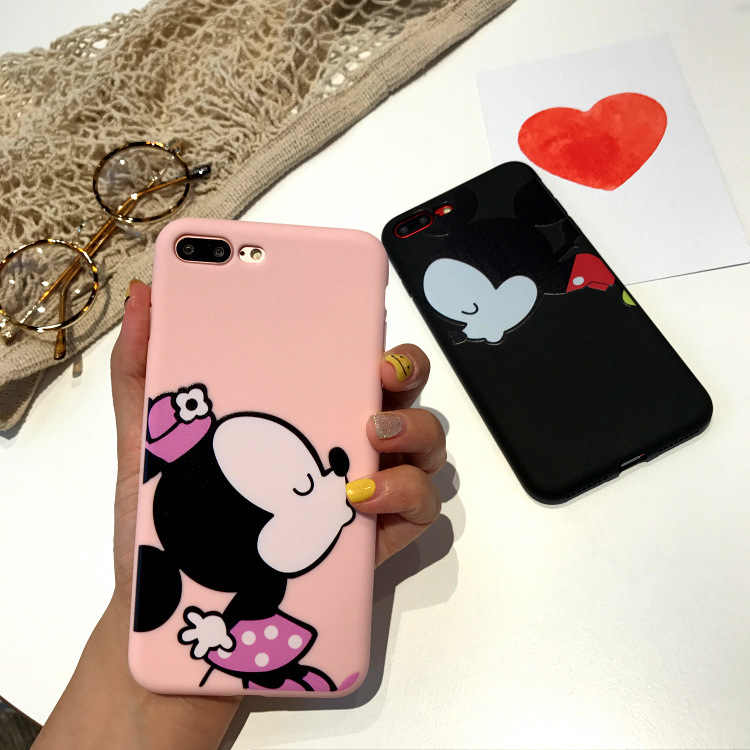 2018 Fashion Full Protective Phone Case for  IPhone 8 7 Plus 6 6s Plus Mickey Minni Cover TPU Slim Soft Shell Back Cover Fundas
