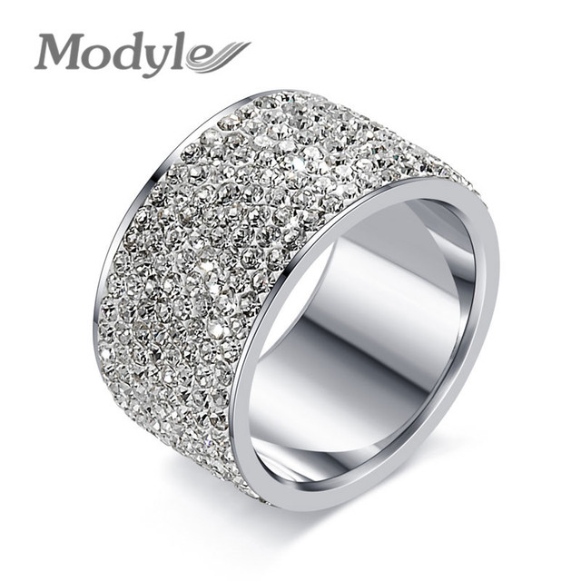 Modyle Fashion Full Crystal Big Wedding Rings For Women Romantic Stainless Steel Ring Bague Femme Gold-Color Ring Female