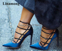 Linamong Fashion Pointed Toe Suede Leather Stiletto Heel Pumps Blue White Thin Straps Cross High Heels Formal Dress Shoes