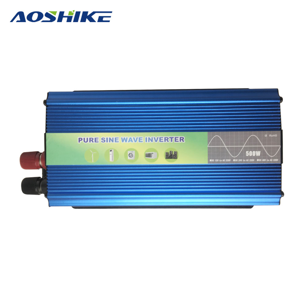 цена на Aoshike 500w Power Inverter Pure Sine Wave DC 12V to AC 220V Car Converter inverters Adapter Voltage Inversor Car Charging