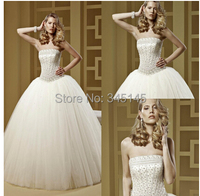 Strapless Crystal Beading Corset Luxury Wedding Gowns Ball Gown Puffy Tulle Off the Shoulder Vestidos De Novia