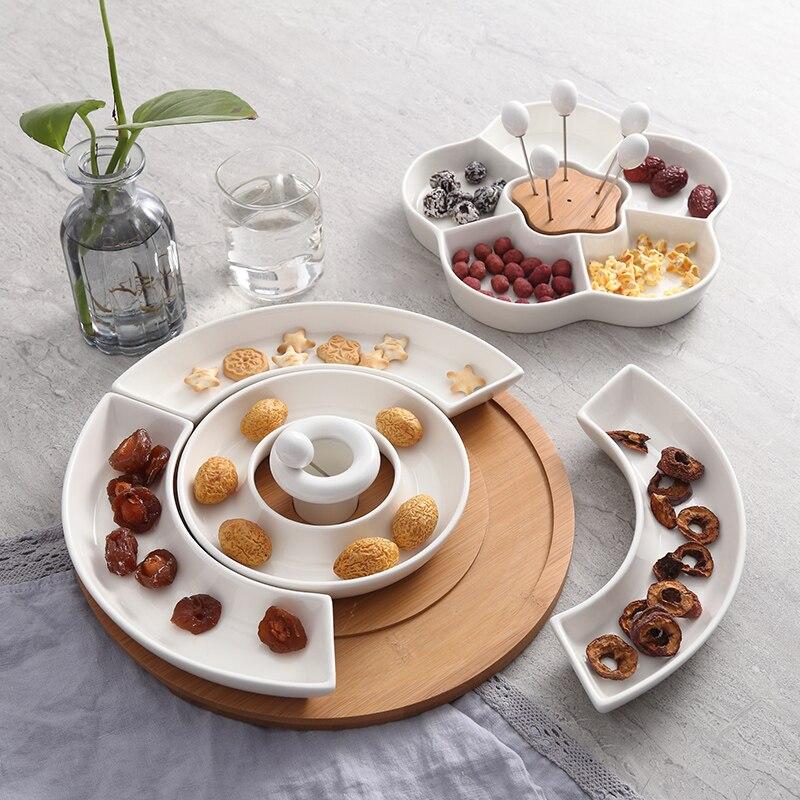 Hôtel restaurant cinq grille en céramique plat solide couleur plateau snack plateau cloison plaque créative en bois plaque WF530248