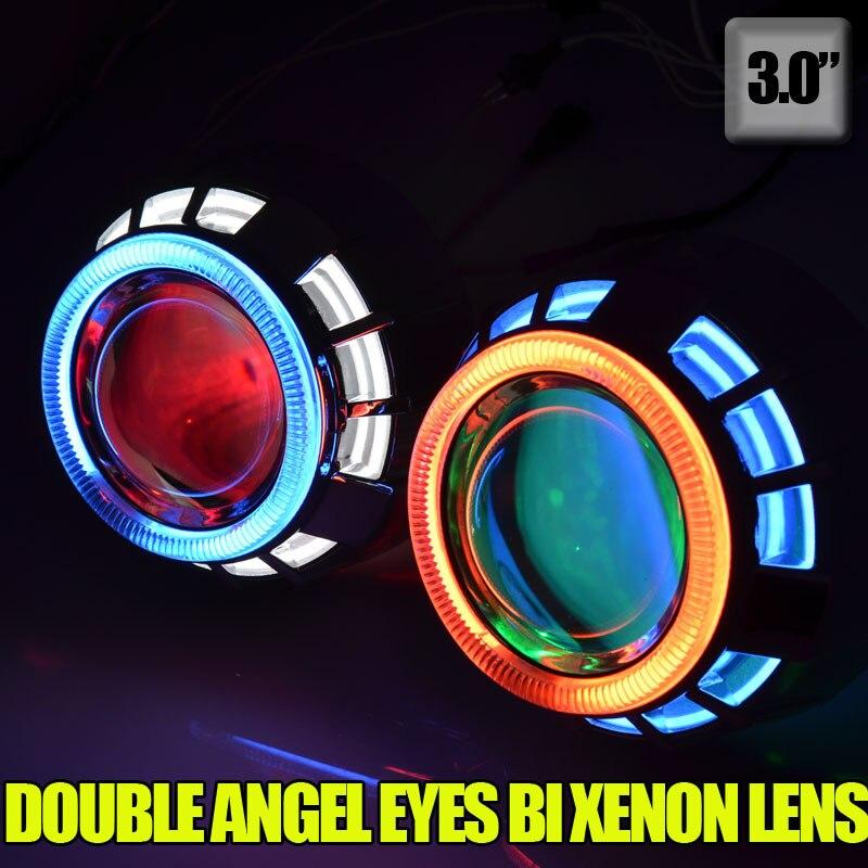 3.0 pouces 35 W hid bi kit de lentille de projecteur xénon avec double CCFL angel eyes + yeux diable pour h1 h7 h4 h11 9005 HB4