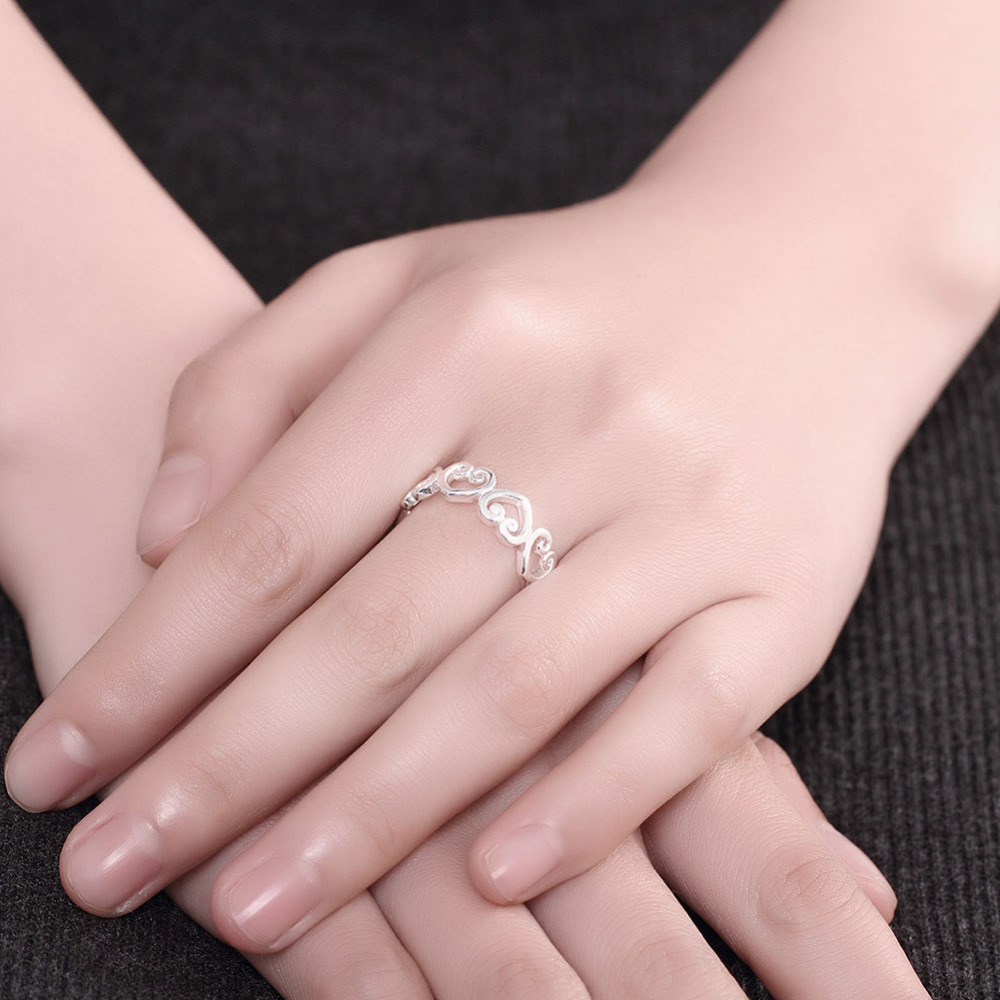 R802 New Top Quality Silver Plated & Stamped 925 rings sweet open ...