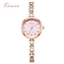 hot deal buy kimio small thin dial crystal diamond womens watches top brand quartz watch women hollow bracelet ladies wrist watches for women