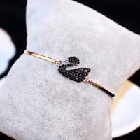 OSHUER 2017 New High Quality Black Swan Rhinestone Bracelet Gold Color Bracelet For Women