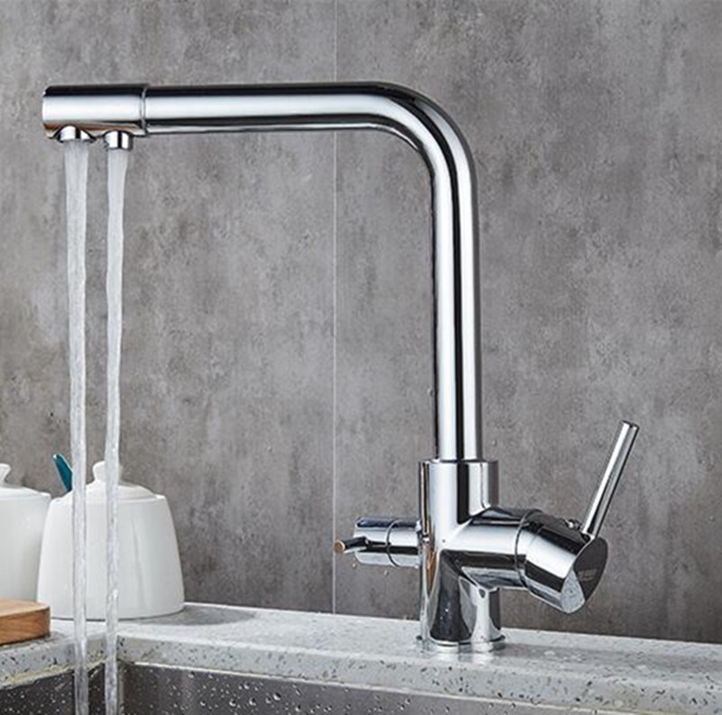 Kitchen Sink Faucet Tap double use with Pure Water Filter Mixer Dual Handles Chrome Finished brass hot and cold new kitchen sink faucet tap pure water filter mixer dual handles with 6 inch hole cover plate brushed nickle