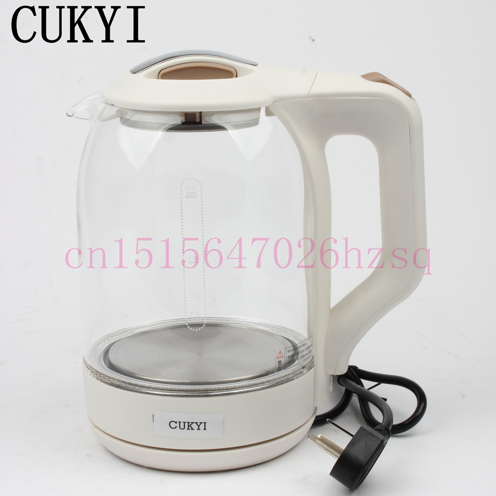 CUKYI Quick Heating Kettles Safety Auto-off household electric instant pots blue light, white khaki cukyi stainless steel 1800w electric kettle household 2l safety auto off function quick heating red gold