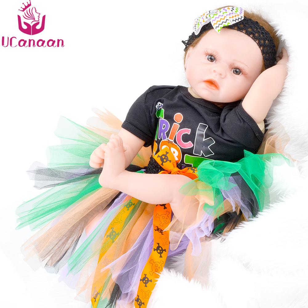 UCanaan 55CM Soft Cloth Body Doll Reborn Baby New Born Toys For Children Baby Alive Silicone Kawaii Dolls For Girls DIY Bonecas
