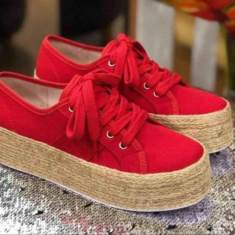 Monerffi Nữ Thời Trang ESPADRILLE Giày Vải Canvas Cho Nữ Dày Dưới Đế Giày Bé Gái Phối Ren Mũi Tròn Giày Đế Giày