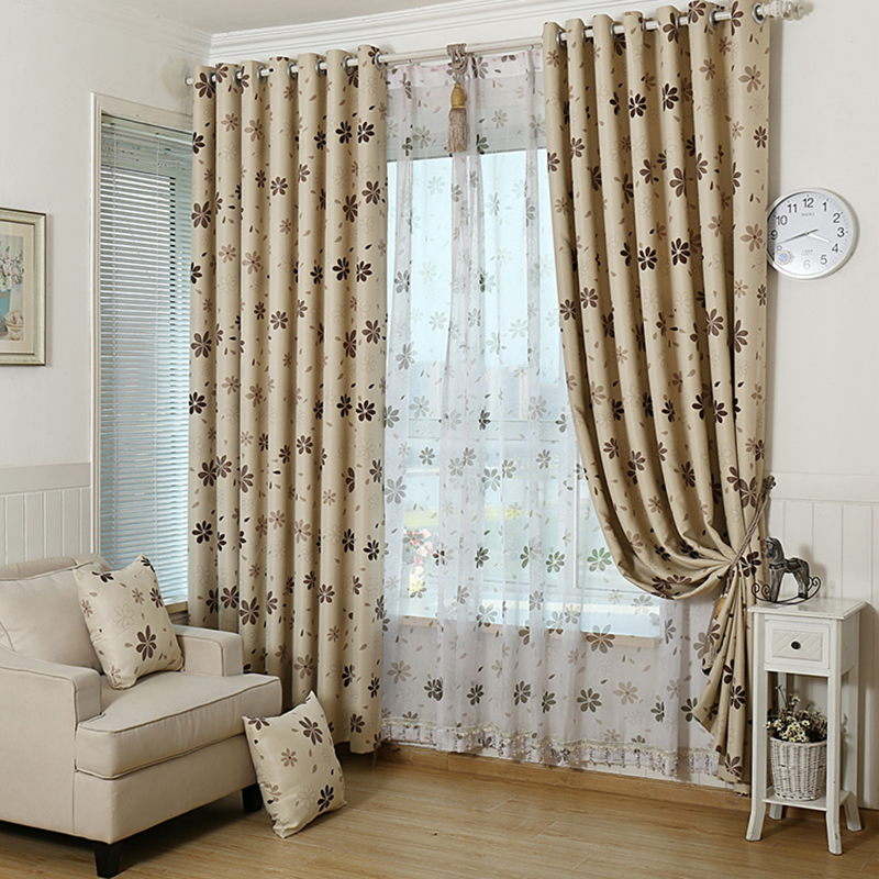 luxury modern shade blackout Flower curtains for living room the bedroom kitchen window treatments drapes panel