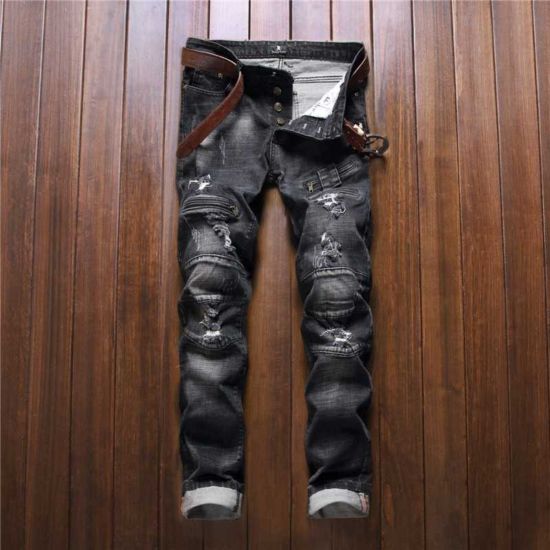 #3265 2016 Grey Straight Mens ripped jeans Fashion Slim Hip hop jeans men Patches Biker jeans with zippers Joggers High quality