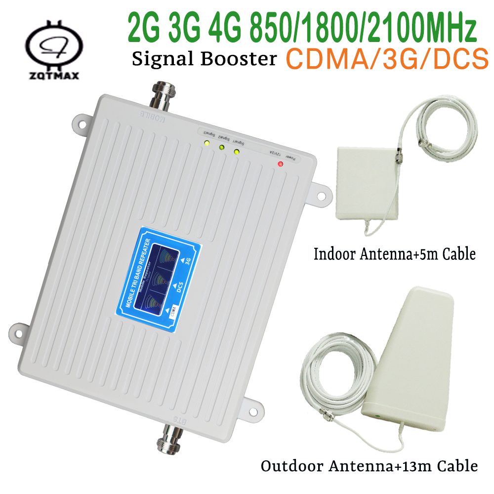 Full Smart 2g 3g 4g Mobile Signal Repeater 850 1800 2100mhz Cellular  Cell Phone Booster Amplifier With LCD Display Kit