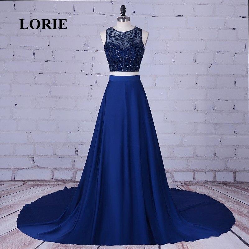 LORIE з двох частин плаття випускного вечора O-Neck з бісеру зі стразами атлас Navyl синій вечірнє плаття для вечірньої сукні vestidos де graduacion  t