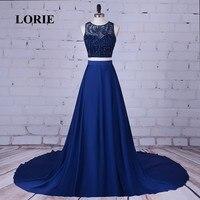 LORIE Two Piece Prom Dress O Neck Beaded with Rhinestones Satin Navyl Blue Evening Dress for Party Gown vestidos de graduacion